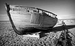 Me ship came in (plot19) Tags: dungerness kent south sony rx100 england english plot19 photography boat old northern seascape seaside sea beach britain blackwhite blackandwhite