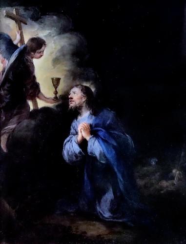 IMG_8512A Bartolome Esteban Murillo. 1618-1682. Séville.   Le Christ au jardin des Oliviers.  Christ in the Garden of Olives.  Louvre.  peinture sur obsidienne.   obsidian painting.