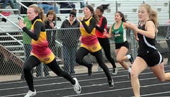 Brush Beetdiggers Brooke Rule and Brooklyn Cox finished third (13.05, season best) and fifth (13.47), respectively, in the 100 meter dash. - IMG_9951 (Paul L Dineen) Tags: 5schools teams sports brushbeetdiggers 201905 2019 dates 20190510 otherplaces places sterling gender coed level varsity prairiemustangs types track