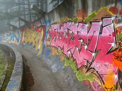 Sarajevo Olympic Bobsleigh and Luge Track (chibeba) Tags: sarajevo bosnia bosniaandherzegovina bosniaherzegovina europe city capital spring travel 2019 may vacation holiday citybreak sarajevoolympic bobsleigh luge track streetart art graffiti colour mist abandoned park tags