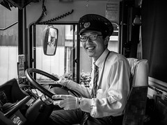 White gloves will be worn (Time to try) Tags: matsumotoshi naganoprefecture japan whitegloves bus driver monochrome monotone olympusuk olympus 25mmf18olympus coachdriver