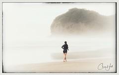 Morning Walk (cjhall.nz) Tags: silhouette newzealand misty mist foggy fog piha beach auckland running runner run walking walker walk