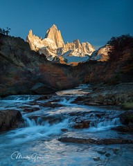 Early moning light on Mount Fitz Roy (moritzgyssler) Tags: fitzroy patagonia sunrise waterfall bvssquad arroyodelsalto