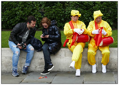 Did you get their picture? (donbyatt) Tags: london trafalgarsquare people candid street dance costumes falungong
