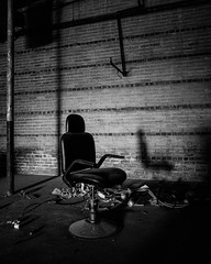 L1010415 (John F. Roberts) Tags: leicaq 28mmsummilux empty chair old building abandoned black white bw