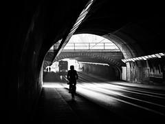 Tunnel (Sandy...J) Tags: tunnel atmosphere architektur monochrom mood blackwhite bw biker light darkness urban underpass silhouette street streetphotography sw schwarzweis strasenfotografie stadt shadow sunlight strase olympus noir photography fotografie germany deutschland absoluteblackandwhite