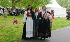 Three Gorgeous Young Norwegian Ladies, Norway's National Day, Southwark Park, Rotherhithe, London (barry.marsh1944) Tags: three gorgeous young norwegian ladies norways day national southwark park london