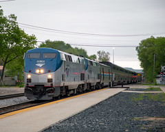 Amtrak 7 (Jonah Arndt) Tags: amtrak empirebuilder ge genesis p42 superliner passenger train locomotive clouds sky trees platform track rail rails railroads