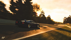 Ferrari F40 (at1503) Tags: trees light goldenlight sunset germany nurburgring track circuit green blue shadows speed motion blur movement sky clouds warmtones ferrari f40 ferrarif40 iconiccar supercar classic 1980scar gtsport granturismo granturismosport motorsport racing game gaming ps4