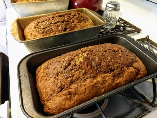 Baked layered cinnamon zucchini bread