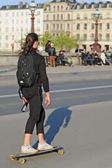 Drinking and Boarding - Copenhagen, Denmark (TravelsWithDan) Tags: skateboarding candid street sidewalk beer drinkingandboarding city urban canong16 copenhagen denmark scandenavia europe woman