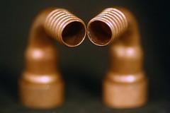 Le couple Copper en tête à tête (Christian Chene Tahiti) Tags: canon 6d paea tahiti orange cuivre copper plomberie fondnoir tuyau anneau raccord pink macro bokeh macromondays jaune