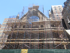 2019 Trinity Chapel Church Rebuilding after 2016 Fire 8564 (Brechtbug) Tags: 2019 trinity chapel complex church ruin from fire 05032016 may 3rd 2016 located flatiron district 15 west 25th street between broadway avenue americas 6th 05182019 constructed 185055 was designed by architect richard upjohn english gothic revival style gutted ruins nyc urban new york city manhattan later named serbian orthodox cathedral st sava saint bust nikola tesla stands outside