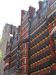 2019 Chelsea Hotel - 222 West 23rd Street NYC 8658 (Brechtbug) Tags: 2019 chelsea hotel reopening month or 222 west 23rd street between 7th 8th avenues nyc 05182019 new york city architecture sign signs built 1884 1885 twelvestory redbrick building that is now was one citys first private apartment cooperatives designed by philip hubert style described queen anne revival victorian gothic features include flower ornamented iron balconies facade grand staircase it tallest