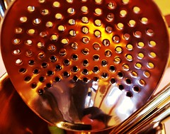 Copper straining spoon (Thad Zajdowicz) Tags: spoon drinks copper straining liquor bar kitchen zajdowicz pasadena california usa cellphone snapseed availablelight macro closeup samsung galaxy indoor inside metal holes smooth texture macromondays