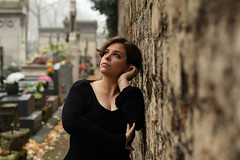 Milena. (Nicolas Fourny photographie) Tags: canon 80d 50mm model beauty portrait portraiture womanportrait girlportrait romanticism dof depthoffield cemetary autumn fall blackdress brunette beautifulgirl beautifulwoman deadleaves graves