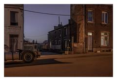 A quiet beginning (Markus Lehr) Tags: street evening trailer blue twilight textures nopeople peoplelessness contemporaryphotography charlesroi belgium markuslehr