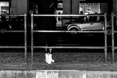 white heels (hydRometra) Tags: tacchi donna strada busstop streetphotography outdoor town shoes città fermata scarpe bn woman heel calze bw postindustrial