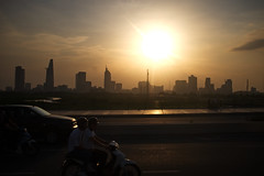 . (Out to Lunch) Tags: saigon ho chi minh city vietnam sundown thu thiem bridge district 2 brown blue low light urban urbanite architecture highrises cityview fuji x100t happyplanet asiafavorites