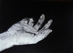 CROSSING OVER (Sketchbook0918) Tags: hand fingers palm resting dying grief death dark mental vanity charcoal self portrait drawing paper