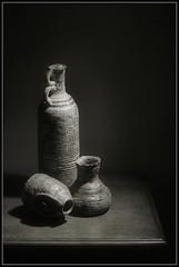 Still life clay vases (jrpsw) Tags: digitalphotography stilllifephotography clayvases nikond3200 blackandwhitephotography