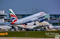 (R0BERT ATKINSON) Tags: britishairways emirates manchesterairport southside manchester takeoff robatkinsonphotography nikond7100 avation airliner airbus gttna a320