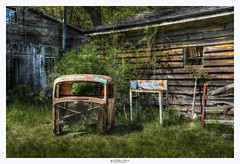 """""""I am not young enough to know everything.""""  ― Oscar Wilde (Pearce Levrais Photography) Tags: car antique rust rusted barn building wood tree plant grass tool old historic abandoned fence window broken hdr sony a7r3 metal mood moody sundown sunset sunrise eerie beautiful quaint table ford body frame cabin outside outdoor"""