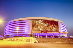 Minsk- Belarus, April 23, 2019: Minsk Arena Complex as the Main Sport Venue with Violet Night Illumination for Second European Games in April 23, 2019 in Minsk (DmitryMorgan) Tags: 2019 belarus hdr minsk minskarena republicofbelarus architecture arena bluehour building championship city complex construction design dome editorial europe europeangames exterior facade famous futuristic game glass ice modern new night reflection round sky sport stadium travel twilight urban venue