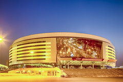 Minsk- Belarus, April 23, 2019: Minsk Arena Complex as the Main Sport Venue with Yellow Night Illumination for Second European Games in April 23, 2019 in Minsk (DmitryMorgan) Tags: 2019 belarus hdr minsk minskarena republicofbelarus architecture arena bluehour building championship city complex construction design dome editorial europe europeangames exterior facade famous futuristic game glass ice modern new night reflection round sky sport stadium travel twilight urban venue