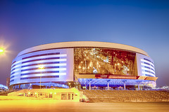 Minsk- Belarus, April 23, 2019: Minsk Arena Complex as the Main Sport Venue with Light Blue Illumination for Second European Games in April 23, 2019 in Minsk (DmitryMorgan) Tags: 2019 belarus hdr minsk minskarena republicofbelarus architecture arena bluehour building championship city complex construction design dome editorial europe europeangames exterior facade famous futuristic game glass ice modern new night reflection round sky sport stadium travel twilight urban venue