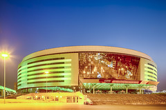 Minsk- Belarus, April 23, 2019: Minsk Arena Complex as the Main Sport Venue with Green Illumination for Second European Games in April 23, 2019, Minsk (DmitryMorgan) Tags: 2019 belarus hdr minsk minskarena republicofbelarus architecture arena bluehour building championship city complex construction design dome editorial europe europeangames exterior facade famous futuristic game glass ice modern new night reflection round sky sport stadium travel twilight urban venue