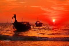 Krabi, Thailand (Jaroslav Kuhtreiber) Tags: thailand krabi lode schife more oceán fujifilm meang voda príroda natura march 2013 západ slnka azia orange nature thajsko