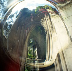 St Dunstan-in-the-East (Myahcat) Tags: spring church ruin kodak kodakportra 120 film mediumformat diana dianaf lomography lomo doubleexposure fisheye