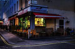 Scenario (Dimmilan) Tags: uk england london paddington urban architecture building caffe restaurant nightlight street night pavement