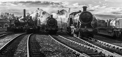 Waiting for  the morning rush (Harleycy3) Tags: steamengines locos bw railway enginesheds steam smoke contrasty timelineevents monochrome tracks