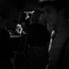 A Crowded Room (evans.photo) Tags: people socialising crowds lonely isolated candid monochrome blackwhite