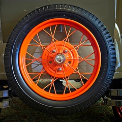 Spare tire and wheel from 1924 Ford (Jack Blackstone) Tags: orange colour color 1924 firestone wheel tire ford antique