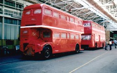 London transport RML and DMS at Aldenham works 1980's. (Ledlon89) Tags: rm routemaster aec parkroyal lt lte londontransport bus buses london londonbus londonbuses vintagebuses aldenhamworks overhaul