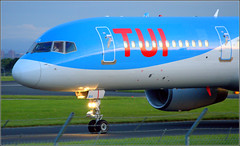 (Diverted Flight, From Manchester) TUI Airways Boeing 757 (G-OOBA) Liverpool John Lennon Airport 19th May 2019 (Cassini2008) Tags: liverpooljohnlennonairport tuiboeing757 gooba tui aviation tuiairways