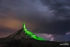 Lightning at Chimney Rock (kevin-palmer) Tags: may spring nebraska nikond750 bayard evening storm thunderstorm weather lightning electric strike bolt chimneyrock bluff rockformation clouds tamron2470mmf28 night dark spire tower