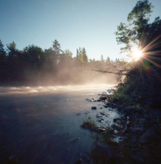 Sun it Rises (facenorth) Tags: zeroimage2000 kodakektar100 mediumformat 120film c41 longexposure waterfall sunrise morning mist autumn fall filmisnotdead scan highfalls timmins ontario pinhole pinholephotography milf manilovefilm grassyriver