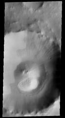 Sand Dunes in Crater in Acidalia Planitia, variant (sjrankin) Tags: 20may2019 edited nasa mars odyssey crater acidaliaplanitia sanddunes marsodyssey grayscale