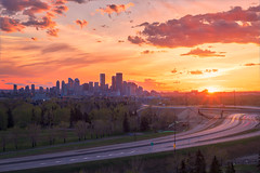 Gold Hour at View of Calgary (Bluesky251) Tags: alberta art beautiful bright building calgary canada cityscape clear cloud cloudline colorful daylight daytime downtown forest goldhour highway home landscape light natural nature orange outdoor outside peaceful photography road season sky skyline spring sun sunlight sunny sunset trees warm weather yellow view