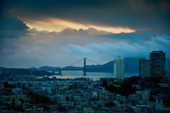 Golden Gate Bridge, San Francisco (Paddy O) Tags: california sanfranciscobay transamericapyramidtower sanfrancisco financialdistrict transamericapyramid goldengatebridge baytobreakers sunset 2019 transamericatower bluehour