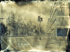 Streets of Oulu II (Sonofsono) Tags: oulu finland black bw white ambrotype collodion longexposure largeformat fkd glass