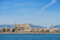 Cathedral and maritime facade of Palma. Majorca (Sebas Adrover) Tags: balearic island mallorca marine nautical palma sea coast littoral mediterranean spain landscape travel ship azure resort capital terrace europe outdoor city architecture sky nature water vacation urban view cityscape day modern beautiful summer majorca background port mountain tourism cathedral holidays boat blue yacht harbor panoramic bay tourist panorama building sunny