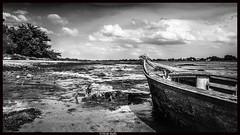 attendre la marée (l'ïle Tascon) (pileath) Tags: tascon ancre lowtide bw little boat barque morbihan marée basse nuages printemps spring