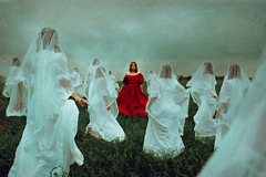 Legacy (Ruby Hyde) Tags: gril red white veil field grass sky fine art fineartphotography surreal clones dress conceptual clouds nature legacy fairytale dark
