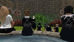 Sister Mary (cadeSL) Tags: sl second life secondlife virtual 3d world avatars rp role play school ireland ohares gap village abbey catholic religion boarding cloister garden fountain students pupils children boys girls teacher nun sister pg story uniform class lesson bench wall grass flowers bushes