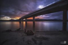 Highway to Hell (JoseQ.) Tags: puente cielo agua embalse valmayor sedas noche atardecer puestadesol colores led filtrond madrid nubes